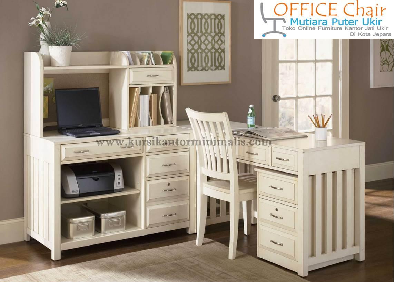 Set Meja Kursi Kantor Duco Putih