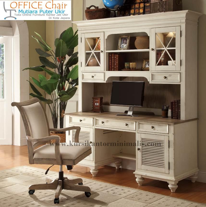 Set Meja Kursi Kantor Kayu Duco Putih