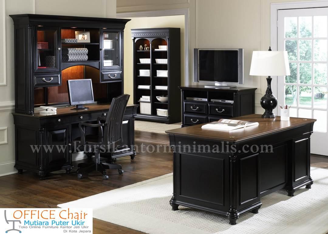 Set Meja Kursi Kantor Kayu Model Mewah