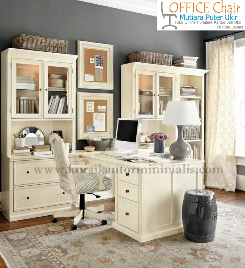 Set Meja Kursi Kantor Minimalis Duco Putih